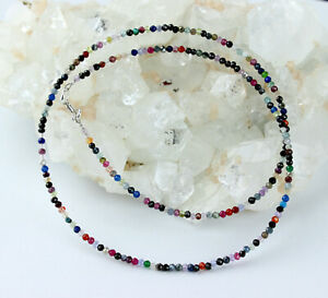 Natural Real Gemstone Faceted Fein-Geschliffen Colourful Ball Necklace 45 CM