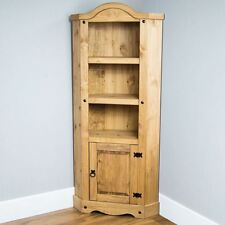Corona 1 Door Corner Bookcase Display Unit Mexican Solid Pine Wood Waxed Rustic
