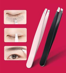 STAINLESS STEEL Hair Eyebrow TWEEZERS Plucker Puller Beauty Nail Slanted Tip AU
