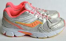 Girls's Saucony Cohesion 6 Running Shoes Neon Pink Yellow Silver Size 4.5