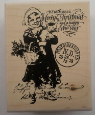 Stampington & Co Merry Christmas Wishes 1918 Postmark Wooden Rubber Stamp #K5540
