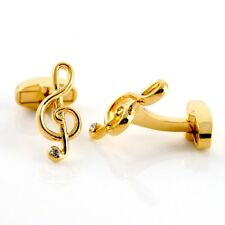 MUSIC NOTES Treble Clef Cuff Links GOLD-PLATED Cufflinks swivel back +Black Box