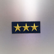 Three Gold Stars Patch — Iron On Badge Embroidered Motif — Epaulette Army Star