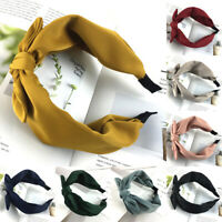 Women Solid Color Satin Headband Rabbit Ears Bow Head Hoop Hair Accessories New