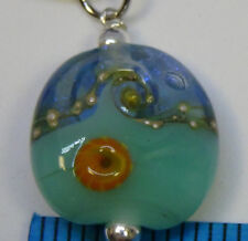 light blue ocean necklace sterling silver wave glass #94