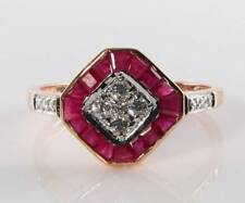 LUSH 9CT 9K ROSE GOLD INDIAN RUBY & DIAMOND ART DECO INS RING FREE RESIZE
