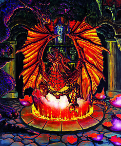 Jigsaw puzzle Fantasy Mythology Birth of a Fire Dragon1000 piece NEW Made in USA