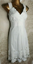COAST Pretty White Floral Guipure Lace Summer Holiday Wedding Dress Size 14 Exce