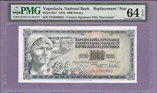 1978 Yugoslavia, National Bank Pick# 92c* 1000 Dinara Replacement STAR  2 Known