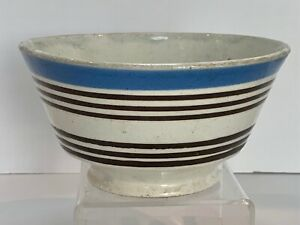 Antique Early Banded Pearlware Mochaware Striped Bowl c. 1840