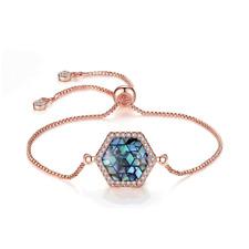 Women Rose Gold Filled Blue Hexagon Crystal Adjustable Chain Pull Bracelet