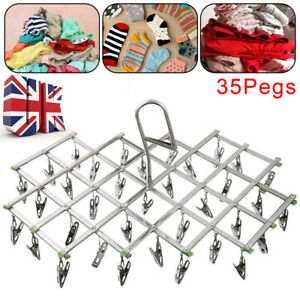 35 Pegs Stainless Laundry Socks Washing Clothes Airer Dryer Rack Hanger Clips