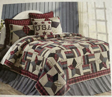 Glory King Quilt Set VHC Brand Rustic Primitive Star USA Patriotic Americana New