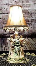 Antique Vintage Table Lamp 3 Lady Figures With Lamp Shade RESTORED REWIRED