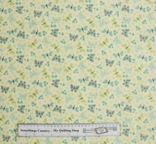 Patchwork Quilting Fabric Butterfly Beige Pale Green Material Cotton FQ 50x55...