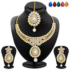 Sukkhi Gold Plated AD Necklace Set, Set of 5 Changeable Stone(2353NADA1430)
