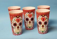 Day of the Dead Sugar Skull tall durable plastic 20 oz tumblers