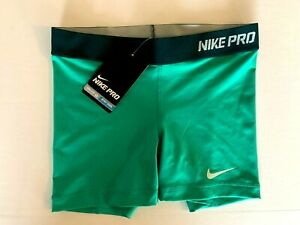 NEW! NIKE PRO [XS] Women 5.0'' Compression Shorts-Green 458655-336