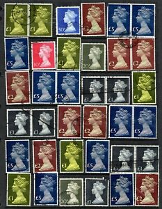 GREAT  BRITAIN: QEII era high value machins collection to 5 £- see scan