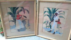 Vintage Art Caribbean Set Tropical Island Colorful signed by R.V. Mandeville