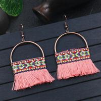 2018 Newest Bohemian Boho Round Hollow Tassel Drop Dangle Women Ethnic Earrings