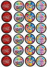 24 Muffin & Cupcake Aufleger  Oblate - Fondant  Happy Birthday C1