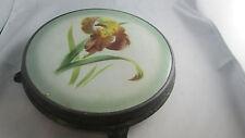 ancien dessous de plat carreau en faience ep 1900 iris metal blanc ferblanterie