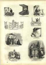 ANCIENNE GRAVURES anglo-saxonne Lit sur roulettes Early English chaises meubles ornement