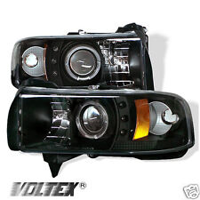 1994-2002 DODGE RAM 1500 2500 3500 CCFL LED PROJECTOR HEADLIGHTS LIGHTBAR BLACK