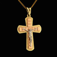 Elegant Handcrafted 14 k Solid Gold Crucifix For Men or Women