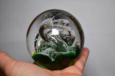 Handblown Glass Paperweight with Lovely Swirls, Warning Sticker on Base, VGC