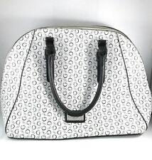 Guess Black& White G Print Bowling Bag Style Purse Handbag Leopard Print Lining