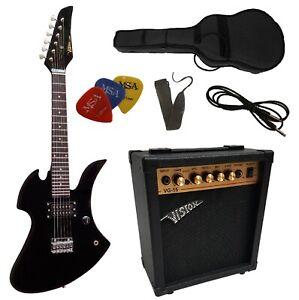 E-Gitarre für Kinder schwarz, Set mit Tasche+Band und Verstärker GW15+3xPiks!!n