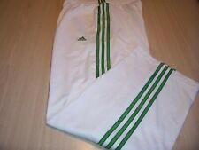 ADIDAS CLIMALITE WHITE W/GREEN STRIPES ATHLETIC PANTS MENS LARGE NICE CONDITION