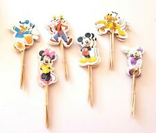 24 MICKEY MOUSE CUP CAKE PICKS-MINNIE CUPCAKE TOPPER-PICK/CLUBHOUSE-DONALD DUCK