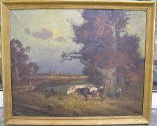 Clemens Prüssen 1888-1966 Gemälde Landschaft / Weide Kühe mit Hirtin