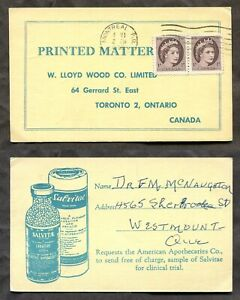 MONTREAL 1958 Dear Doctor Type Advertising Postal Card. 2c Rate Wilding (p01992)