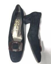 Vintage Salvatore Ferragamo Carla Black Suede High Heel Dress Shoes Size 7.5