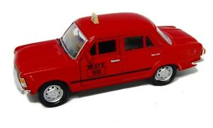 Welly Model Fiat 125p Taxi Red Prl Car 1:3 4-39 Nip