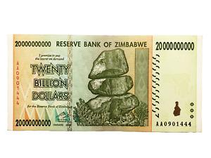 Zimbabwe One 20 Billion Dollar Bill Banknote Paper Money Currency Hyperinflation