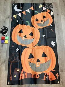Halloween Bean Bag Toss Fun Game Hanging Banner 4 Bean Bags Jack O  Lantern