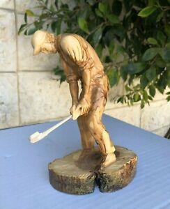 Handmade Olive Wood, Carved Golf Player, Home Decor, Carving Figurine Art