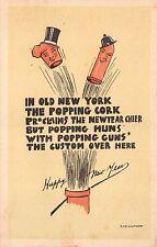 Postcard Popping Corks, Huns, Guns in New York Happy New Year~112653