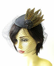 Black Birdcage Veil Brown Pheasant Feather Fascinator Hair Races Vintage 1461