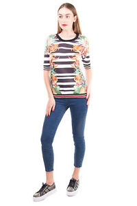 SWEET MATILDA Sweatshirt Size M Striped & Floral Print Round Neck Made in Italy