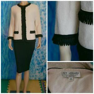 ST. JOHN Collection Knits Cream Jacket L 14 12 Suit Blazer Black Trim Pockets