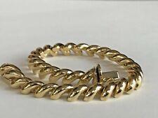 14k ITALY Solid Gold Macaroni Bracelet 7 inch Bracelet ~ Vintage Style