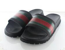 14-28 $210 Men's Sz 12 G Gucci Web Rubber Slide Sandal In Black