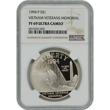 New listing 1994-P Vietnam Ngc Pf69 Proof Commemorative Silver One Dollar Coin