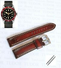 Handmade brown Leather Watch Strap 22mm with Buckle for Tudor Heritage Black Bay